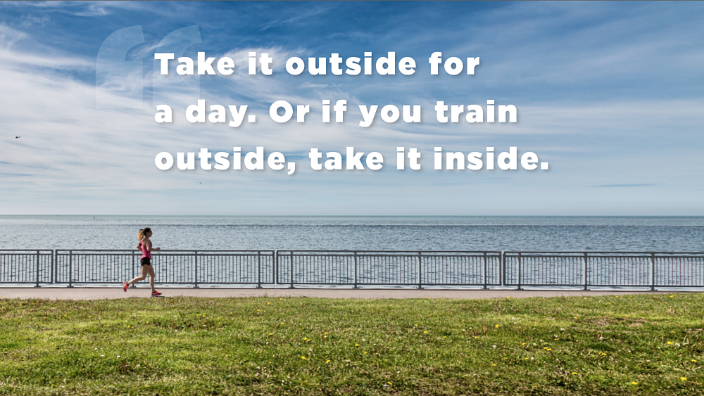 take it outside for a day or if you train outside, take it inside