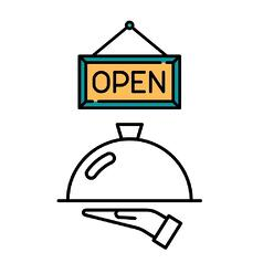open sign with waiter's hand serving order