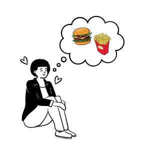 woman thinking about fast food
