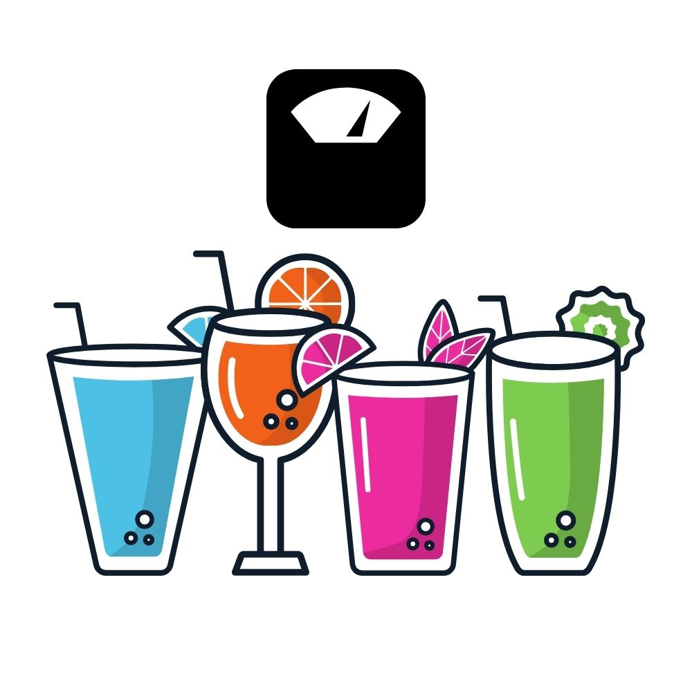 various drinks with a scale