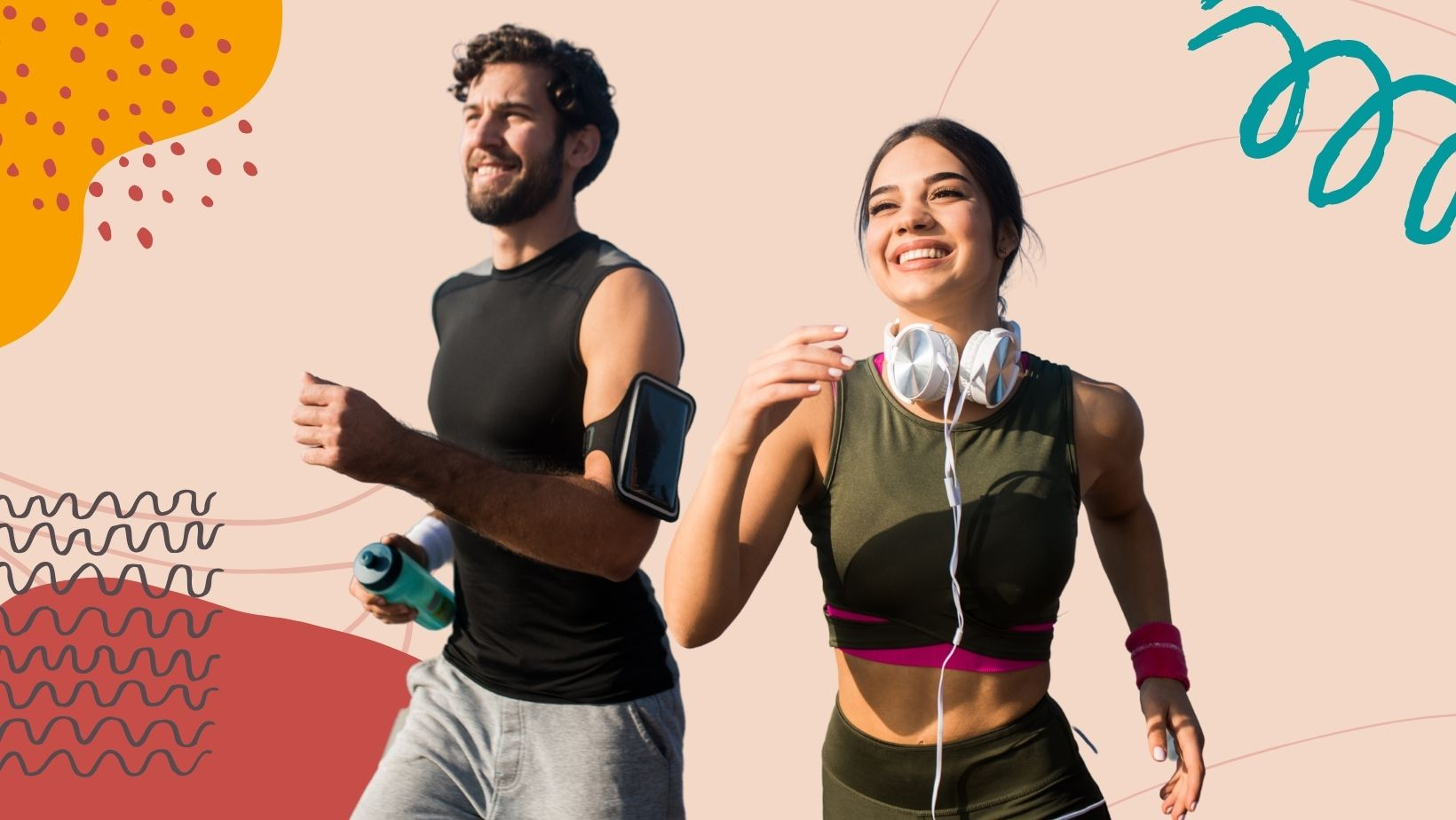 Man and woman smiling while running